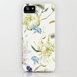 Antique White Flower Pattern with Blue Accents iPhone Case