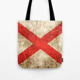 Vintage Aged and Scratched Alabama Flag Tote Bag