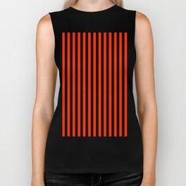 Bright Red and Black Vertical Stripes Biker Tank