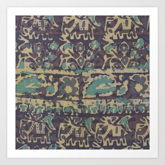 Elephant Batik Art Print
