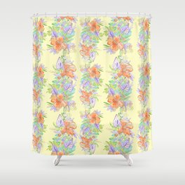 hawaiian tropical flowers yellow Shower Curtain