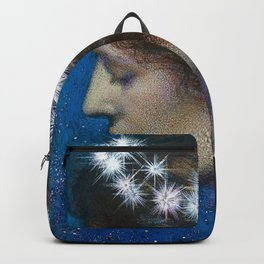 Woman with Luminous Diadems & Stars of Heaven female portrait painting by Edward Robert Hughes Backpack
