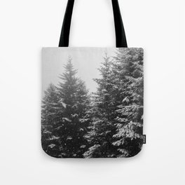 The Pine Tree Forest (Black and White) Tote Bag