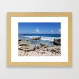 Rocky Beach, Cancun Mexico Isla Mujeres Carribean Clouds Blue Waves Framed Art Print