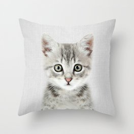 Kitten - Colorful Throw Pillow