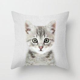 Kitten - Colorful Throw Pillow