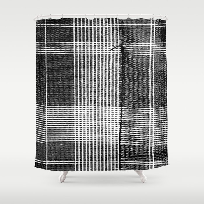 Stitched Plaid in Black and White Shower Curtain by jeffreyjirwin ...