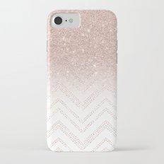 Modern faux rose gold glitter ombre modern chevron stitches pattern iPhone 7 Slim Case