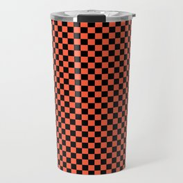 Living Color Color of the Year in Coral Orange and Black Checkerboard Travel Mug