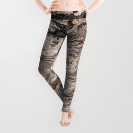 Brown Marble Texture Leggings