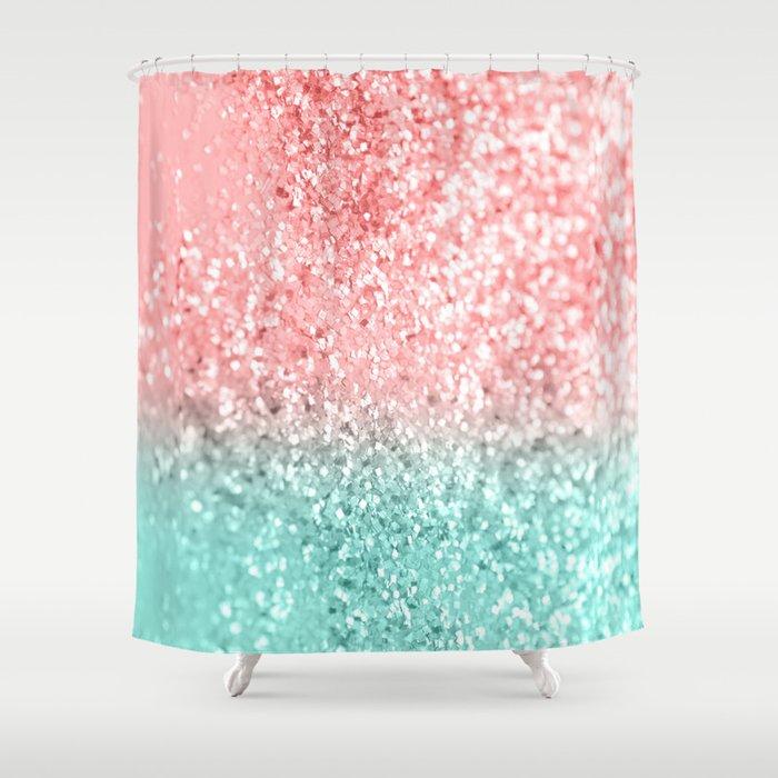 Summer Vibes Glitter 3 Coral Mint Shiny Decor Art
