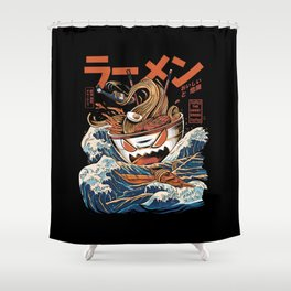 The black Great Ramen Shower Curtain