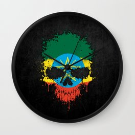 Flag of Ethiopia on a Chaotic Splatter Skull Wall Clock