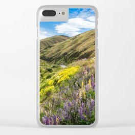 Lupines fields on the side of the road in New Zealand Clear iPhone Case