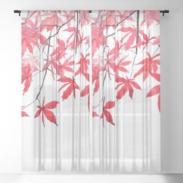 red maple leaves watercolor painting 2 Sheer Curtain