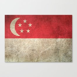 Old and Worn Distressed Vintage Flag of Singapore Canvas Print