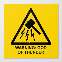 Warning: God of Thunder Canvas Print