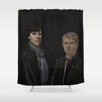 emma watson Shower Curtains featuring SHERLOCK&WATSON by zinakorotkova