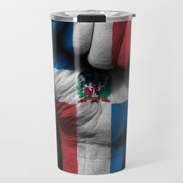 Dominican Flag on a Raised Clenched Fist Travel Mug