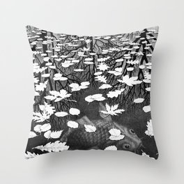 Escher- Three Worlds Throw Pillow