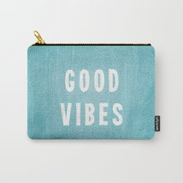 Beachy Aqua Blue/Green and White Distressed Print Effect Good Vibes Carry-All Pouch