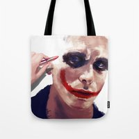 christian schloe Tote Bags featuring Christian Bale by Pazu Cheng