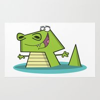 crocodile Area & Throw Rugs featuring Crocodile by Shahed Ali illustration