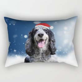 Cute Cocker Spaniel Dog Snow Stars Blue Christmas Rectangular Pillow