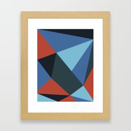 Neon Salmon Geometry Framed Art Print