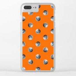 Lunar Moon - orange Clear iPhone Case