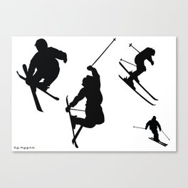 Skiing silhouettes Canvas Print