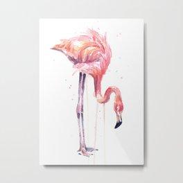 Flamingo Watercolor Painting Art Tropical Birds | Facing Left Metal Print