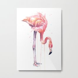 Flamingo Watercolor Painting Pink Tropical Birds Facing Left Metal Print