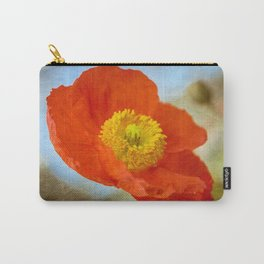 Orange Poppy Flower on a Warm Spring Breeze -- Bright Cheerful Botanical Carry-All Pouch