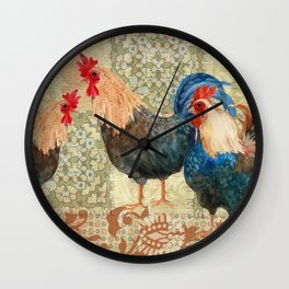 Roosters  Menage e Trois  Wall Clock