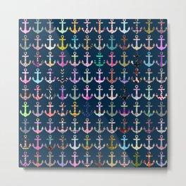 Nautical navy blue colorful patterns anchor pattern Metal Print