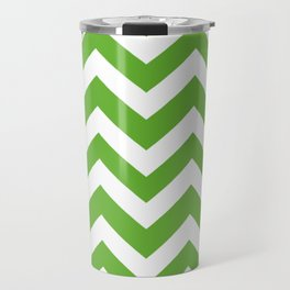 Green (RYB) - green color - Zigzag Chevron Pattern Travel Mug