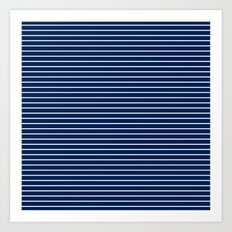 MINI STRIPES - NAVY Art Print