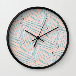 Palm Leaves Coral Wall Clock