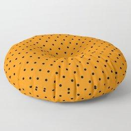Small Black Polka Dots On Orange Background Floor Pillow