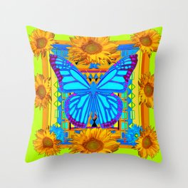 Lime Sunflower Blue Butterfly Floral Throw Pillow