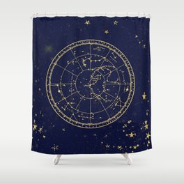 Metallic Gold Vintage Star Map 3 Shower Curtain