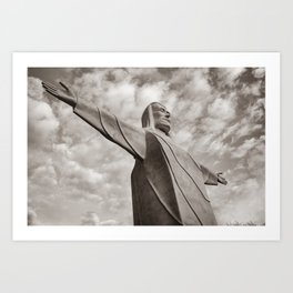 Christ of the Ozarks - Eureka Springs Arkansas in Sepia Art Print