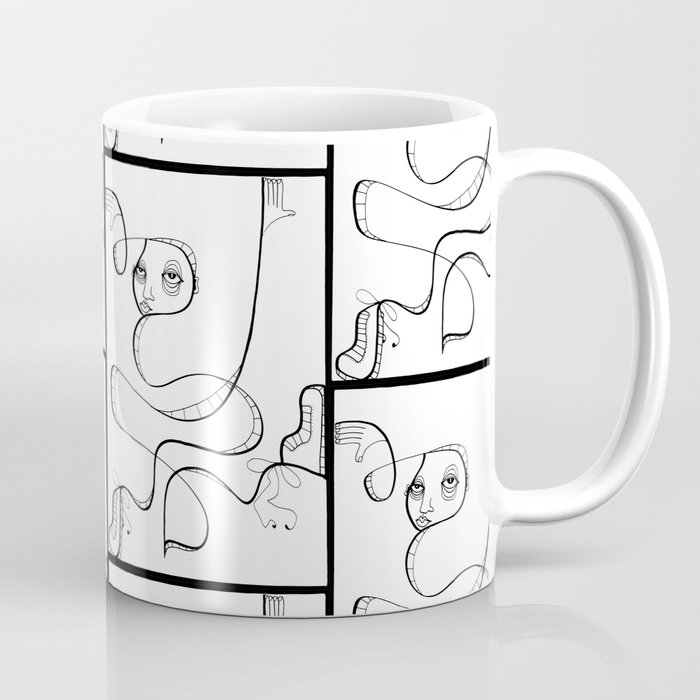 Box Breaker Ink Drawing Stylized Black and White Character by Jordan Eismont for Whipple Hill Art Coffee Mug