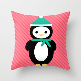 Striped Holiday Penguin Throw Pillow