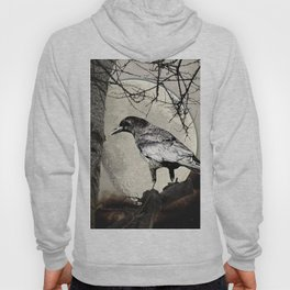 Rustic Black Bird Raven Crow Tree Moon A142 Hoody