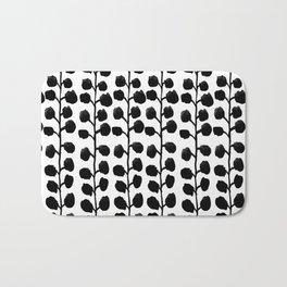 Black and white minimal modern petals leaves bloom spring summer monochromatic urban dorm decor Bath Mat