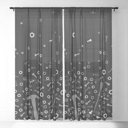 Anti-gravity Tools - grey and black Sheer Curtain