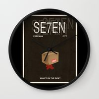 movie poster Wall Clocks featuring Seven Movie Poster by Finlay McNevin