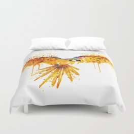 Flying Parrot watercolor Duvet Cover